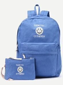 Blue Front Zipper Smiling Face Canvas Backpack With Clutch