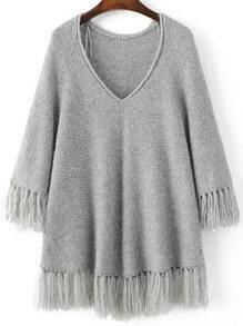 Grey V Neck Fringe Trim Oversized Sweater
