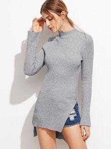 Grey Crew Neck Bell Sleeve Side Slit Dip Hem Sweater