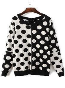Black White Polka Dot Pattern Tied Back Knitwear