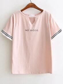 Pink Letter Print Cut Out Tee With Fringe Cuff