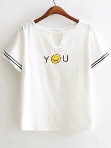 White Smile Face Print Cut Out Fringe Detail T-Shirt