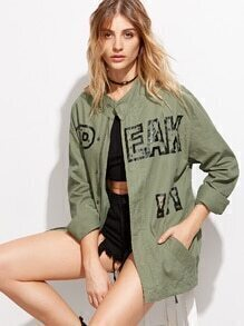 Army Green Eagle Embroidered Studded Zipper Coat