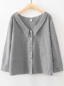 Black Vertical Striped V Neck Button Up Blouse