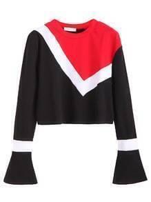 Color Block Bell Sleeve Crop T-shirt