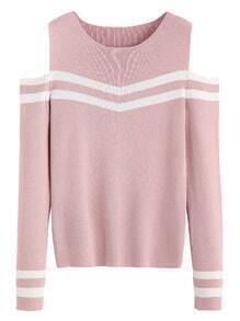 Pink Striped Open Shoulder Sweater