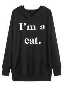 Black Sentence Print Hooded Sweatshirt With Pocket