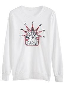White Pattern Embroidered Sweatshirt