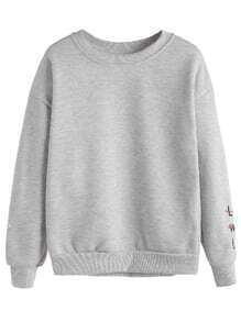 Grey Letters & Gesture Embroidered Sweatshirt