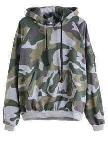 Army Green Camo Print Zip Hooded Sweatshirt With Pocket