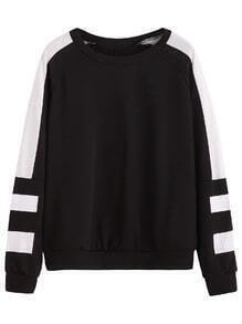 Black White Stripe Raglan Sleeve Sweatshirt