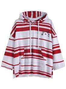 Contrast Striped Letter Print Drawstring Hooded Pocket T-shirt