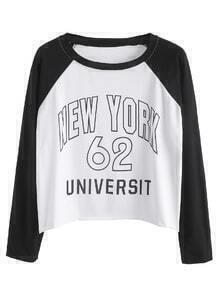 Black And White Letter Print Raglan Sleeve T-shirt