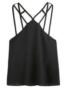 Black V Neck Layered Chiffon Cami Top