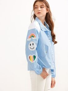 Blue Letter Print Zipper Up Patch Jacket