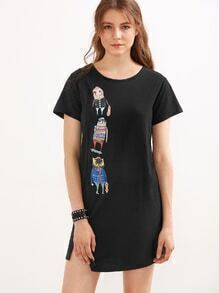 Black Cartoon Print Split Asymmetrical Dress