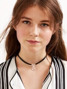 Black Geometric Pendant Choker Necklace