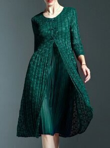 Dark Green Crew Neck Floral Pleated Dress