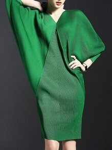 Green V Neck Backless Batwing Sleeve Knit Dress