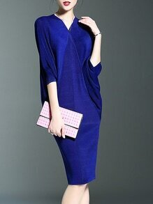 Blue V Neck Backless Batwing Sleeve Knit Dress