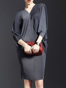 Grey V Neck Backless Batwing Sleeve Knit Dress