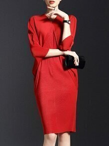 Red V Neck Backless Batwing Sleeve Knit Dress