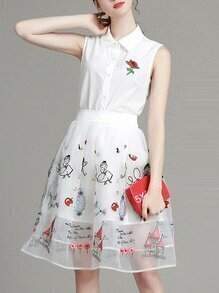 White Lapel Organza Embroidered Top With Skirt