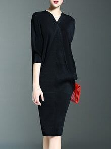 Black V Neck Backless Batwing Sleeve Knit Dress