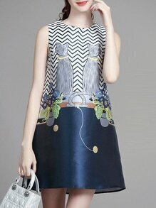 Navy Cats Print Shift Dress
