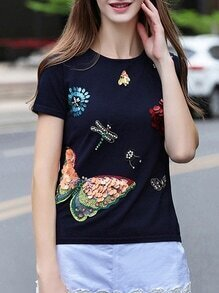 Navy Flowers Applique Beading Sequined Knit Sweatshirt