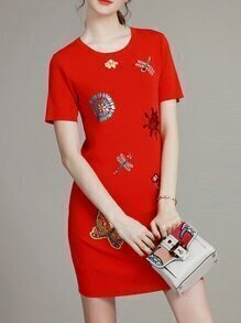 Red Sequined Beading Embroidered Sheath Dress