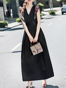 Black V Neck Ruffle Sleeve Embroidered Maxi Dress