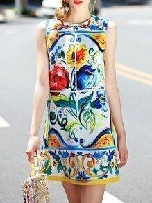 Multicolor Crew Neck Print Shift Dress