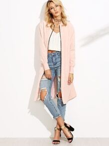 Pink Ribbed Trim Zip Up Satin Bomber Coat