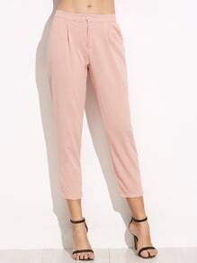 Pink Elastic Waist Pocket Pants