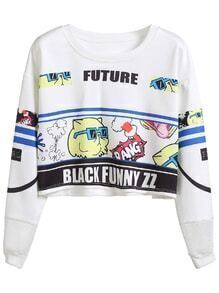 White Cartoon And Letter Print Sweatshirt