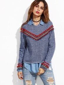 Blue Denim Look Sweatshirt With Embroidered Tape Detail