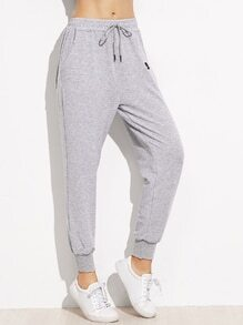 Grey Drawstring Patch Peg Pants