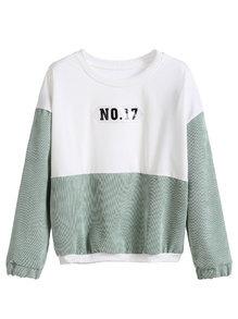 Color Block Drop Shoulder Patch Sweatshirt