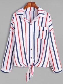 Vertical Striped Drop Shoulder Knotted Hem Shirt