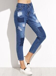 Blue Ripped Ankle Denim Jeans