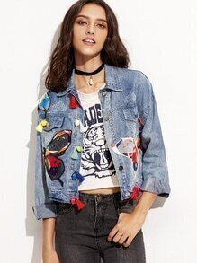Blue Embroidered Tassel Trim Denim Jacket