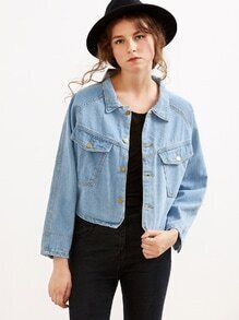 Blue Single Breasted Crop Denim Jacket