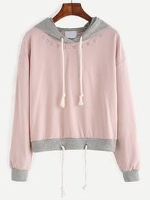 Kapuzensweatshirt Stickereien Tunnelzug - rosa