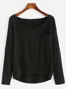 Black Pocket High Low Sweater