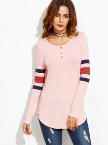 Pink Button Front Varsity Striped Sleeve T-shirt