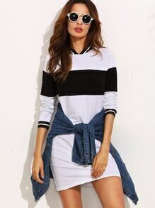 Black and White Contrast Trim Long Sweatshirt