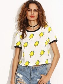 Beige Contrast Collar Ice-cream Printed Crop T-shirt