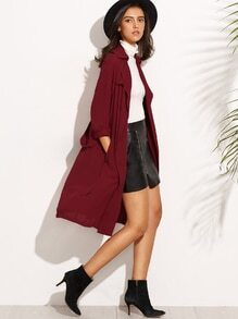 Burgundy Lapel Button Long Sleeve Outerwear
