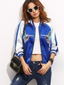 Color Block Patchwork Long Sleeve Bomber Jacket
